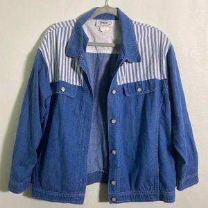 3/$25 Grunge jean jacket color block stripe detail